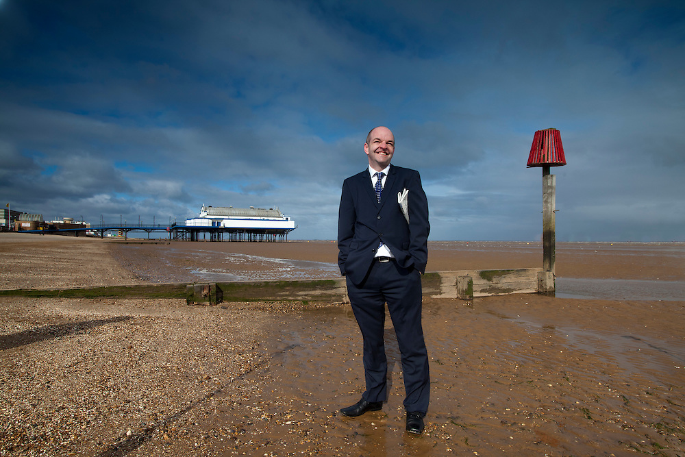 05/03/2012 Cleethorpes - Nigel Lowther , editor of The Cleethorpes Chroniicle on the windswept beach at Cleethorpes  and the offices in Short Street