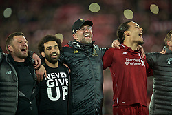 BRITAIN-LIVERPOOL-FOOTBALL-UEFA CHAMPIONS LEAGUE-LIVERPOOL VS FC BARCELONA..(190507) -- LIVERPOOL, May 7, 2019  Liverpool's Mohamed Salah (L), manager Jürgen Klopp (C) and Virgil van Dijk (R) celebrate after the UEFA Champions League Semi-Final second Leg match between Liverpool FC and FC Barcelona at Anfield in Liverpool, Britain on May 7, 2019. Liverpool won 4-3 on aggregate and reached the final. FOR EDITORIAL USE ONLY. NOT FOR SALE FOR MARKETING OR ADVERTISING CAMPAIGNS. NO USE WITH UNAUTHORIZED AUDIO, VIDEO, DATA, FIXTURE LISTS, CLUBLEAGUE LOGOS OR ''LIVE'' SERVICES. ONLINE IN-MATCH USE LIMITED TO 45 IMAGES, NO VIDEO EMULATION. NO USE IN BETTING, GAMES OR SINGLE CLUBLEAGUEPLAYER PUBLICATIONS. (Credit Image: © Xinhua via ZUMA Wire)