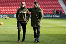 Leeds United's Ezgjan Alioski (left) and Leeds United's Pablo Hernandez on the pitch at Middlesbrough's Riverside Football Stadium before the Sky Bet Championship match at The Riverside Stadium, Middlesbrough.