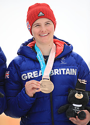 Great Britain's Millie Knight celebrates with her bronze medal in the Women's Slalom, Visually Impaired at the Jeongseon Alpine Centre during day nine of the PyeongChang 2018 Winter Paralympics in South Korea.