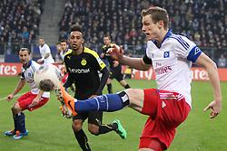 Football: Germany, 1. Bundesliga, Hamburg, 16.02.2014<br />Marcell Jansen (Hamburger SV) - Pierre-Emerick Aubameyang (Borussia Dortmund)<br /> copyright: pixathlon