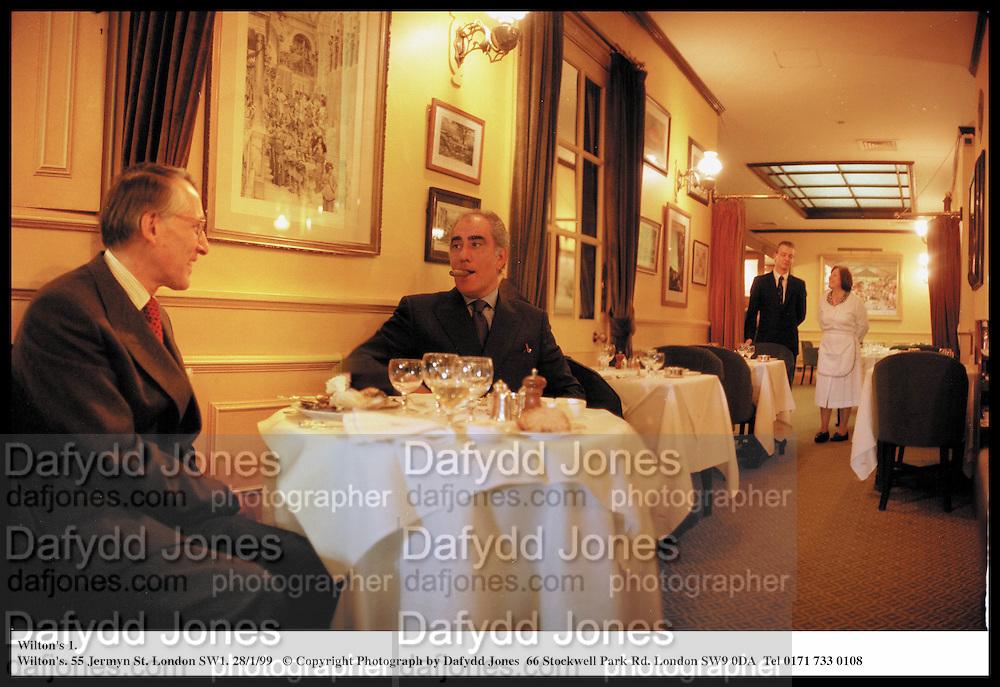 Wilton's 1.<br /> Wilton's. 55 Jermyn St. London SW1. 28/1/99<br /> © Copyright Photograph by Dafydd Jones  66 Stockwell Park Rd. London SW9 0DA  Tel 0171 733 0108