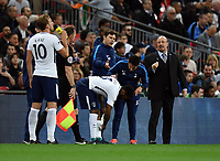 Football - 2017 / 2018 Premier League - Tottenham Hotspur vs. Newcastle United<br /> <br /> Newcastle United manager Rafa Benitez complains about time wasting as Tottenham Hotspur's Danny Rose prepares to come onto the pitch, at Wembley Stadium.<br /> <br /> COLORSPORT/ASHLEY WESTERN