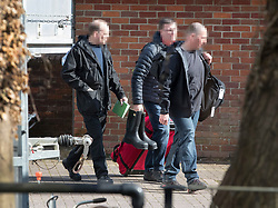 NOTE TO EDITORS - Please note that we have received a request that weapons inspectors faces be pixelated. © Licensed to London News Pictures. 21/03/2018. Salisbury, UK. Investigators from the Organisation for the Prohibition of Chemical Weapons (OPCW)  arrive at The Mill pub in Salisbury aspolice continue their investigation after former Russian spy Sergei Skripal and his daughter Yulia were poisoned with nerve agent. The couple where found unconscious on bench in Salisbury shopping centre. A policeman who went to their aid is currently recovering in hospital. Photo credit: Peter Macdiarmid/LNP