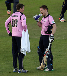 Middlesex's Eoin Morgan has a drink - Photo mandatory by-line: Robbie Stephenson/JMP - Mobile: 07966 386802 - 04/06/2015 - SPORT - Cricket - Southampton - The Ageas Bowl - Hampshire v Middlesex - Natwest T20 Blast
