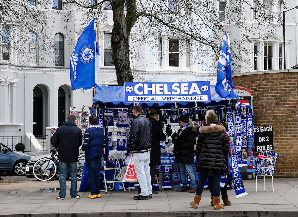 Merchandise on sale outside Stamford Bridge, home of Chelsea<br /> <br /> Photographer Craig Mercer/CameraSport<br /> <br /> Football - Barclays Premiership - Chelsea v Burnley - Saturday 21st February 2015 - Stamford Bridge - London<br /> <br /> © CameraSport - 43 Linden Ave. Countesthorpe. Leicester. England. LE8 5PG - Tel: +44 (0) 116 277 4147 - admin@camerasport.com - www.camerasport.com