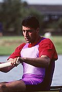 Molesey, Great Britain. GBR M4+, No. 2. Salih HASSAN, 1992 British International Rowinig Training on the Molesey Reach, Surrey,  [Mandatory Credit. Peter Spurrier/Intersport Images] +1992 +Molesey +Henley 1992 GBRowing Training, Molesey/Henley, United Kingdom