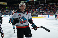 KELOWNA, BC - FEBRUARY 12: Matthew Wedman #20 of the Kelowna Rockets skates to the bench to celebrate a first period goal, the second against the Tri-City Americans in the first period at Prospera Place on February 8, 2020 in Kelowna, Canada. (Photo by Marissa Baecker/Shoot the Breeze)