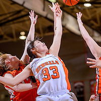 030714       Cable Hoover<br /> <br /> Gallup Bengal Rhannin Singer (33) swats a rebound away from the Artesia Bulldogs Friday at Gallup High School.