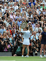 Tennis - 2019 Wimbledon Championships - Week Two, Saturday (Day Twelve)<br /> <br /> Women's Singles, Final: Serena Williams (USA) vs. Simona Halep (ROU)<br /> <br /> Simona Halep shows off the Shield to the crowd, on Centre Court.<br /> <br /> COLORSPORT/ANDREW COWIE