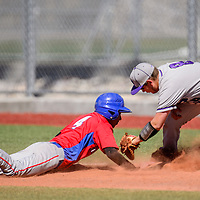 Miyamura Patriot Ozzie Guerrero (8) attempts to pick off West Mesa Mustang Gabe Ramirez (4) Saturday at the Gallup Sports Complex.