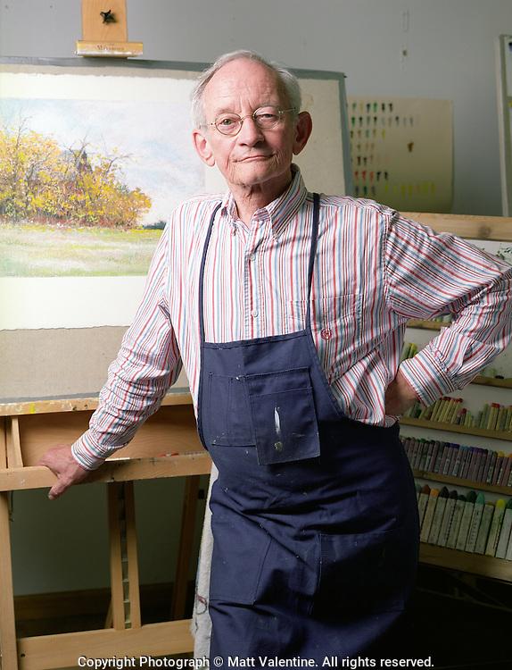 The poet Ted Kooser in his painting studio