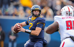 Nov 9, 2019; Morgantown, WV, USA; West Virginia Mountaineers quarterback Jarret Doege (2) throws a pass during the third quarter against the Texas Tech Red Raiders at Mountaineer Field at Milan Puskar Stadium. Mandatory Credit: Ben Queen-USA TODAY Sports