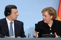 09 JAN 2007, BERLIN/GERMANY:<br /> Dr. Jose Manuel Barroso (L), Praesident der Europaeischen Kommission, und Angela Merkel (R), CDU, Bundeskanzlerin, waehrend einer Pressekonferenz, nach der gemeinsamen Kabinettsitzung des Bundeskabinetts und der Kommission der Europaeischen Kommission, Bundeskanzleramt<br /> IMAGE: 20070109-02-044<br /> KEYWORDS: Dr. José Manuel Barroso