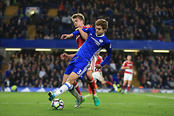 8 May 2017 - Premier League - Chelsea v Middlesbrough - Patrick Bamford of Middlesbrough in action with Marcos Alonso of Chelsea - Photo: Marc Atkins / Offside.