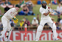 South Africa's  Hashim Amla in action on day four of the first test against Australia