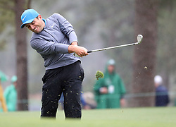April 7, 2018 - Augusta, GA, USA - Francesco Molinari hits from the 1st fairway during the third round of the Masters Tournament on Saturday, April 7, 2018, at Augusta National Golf Club in Augusta, Ga. (Credit Image: © Jason Getz/TNS via ZUMA Wire)