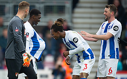 Brighton & Hove Albion'™s Yves Bissouma (left) celebrates scoring his side's second goal of the game with team-mate Gaeten Bong