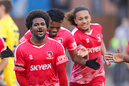 Goal 1-0 Hayes and Yeading Omar Rowe (7) scores and celebrates the first goal during the The FA Cup match between Hayes and Yeading and Carlisle United at the SkyEx Community Stadium, hayes, United Kingdom on 8 November 2020.