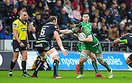 Connacht's Sean O'Brien hands off Ospreys' Alun Wyn Jones.<br /> <br /> Guinness Pro12 rugby match, Ospreys v Connacht rugby at the Liberty Stadium in Swansea, South Wales on Saturday 7th January 2017.<br /> pic by Craig Thomas, Andrew Orchard sports photography.