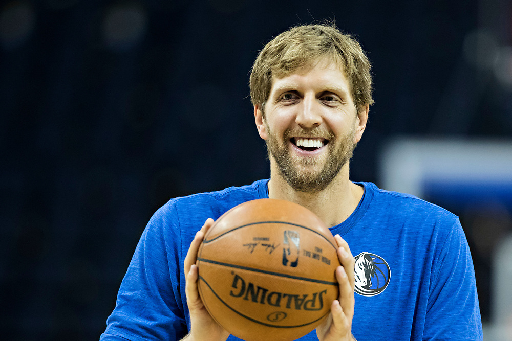 MEMPHIS, TN - OCTOBER 26:  Dirk Nowitzki #41 of the Dallas Mavericks warming up before a game against the Memphis Grizzlies at the FedEx Forum on October 26, 2017 in Memphis, Tennessee.  NOTE TO USER: User expressly acknowledges and agrees that, by downloading and or using this photograph, User is consenting to the terms and conditions of the Getty Images License Agreement.  The Grizzlies defeated the Mavericks 96-91.  (Photo by Wesley Hitt/Getty Images) *** Local Caption *** Dirk Nowitzki