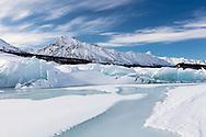 Pressure ridge of ice at terminal edge of Matanuska Glacier in Southcentral Alaska. Spring. Morning.