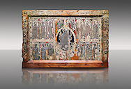 Absis d'esterri de Cardos a Romanesque painted altar front from the church of Saint Pau d'esterri de Cardos, Spain, Metal reliefs of Christ Pantocrator surrounded by the 12 Apostles.  National Art Museum of Catalonia, Barcelona 1919-23. Ref: MNAC 15970. .<br /> <br /> If you prefer you can also buy from our ALAMY PHOTO LIBRARY  Collection visit : https://www.alamy.com/portfolio/paul-williams-funkystock/romanesque-art-antiquities.html<br /> Type -     MNAC     - into the LOWER SEARCH WITHIN GALLERY box. Refine search by adding background colour, place, subject etc<br /> <br /> Visit our ROMANESQUE ART PHOTO COLLECTION for more   photos  to download or buy as prints https://funkystock.photoshelter.com/gallery-collection/Medieval-Romanesque-Art-Antiquities-Historic-Sites-Pictures-Images-of/C0000uYGQT94tY_Y
