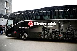 The Frankfurt team bus arrives at the stadium ahead of the UEFA Europa League Semi final, first leg match at The Frankfurt Stadion, Frankfurt.