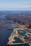 Aerial image the Mississippi River, looking north, near Prairie du Chien, Wisconsin, USA.