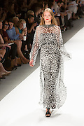 Gown in a layered black and white jungle print. By Carlos Miele at the Spring 2013 Mercedes-Benz Fashion Week in New York.
