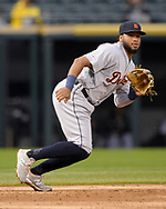 CHICAGO - SEPTEMBER 27:  Dawel Lugo #18 of the Detroit Tigers fields against the Chicago White Sox on September 27, 2019 at Guaranteed Rate Field in Chicago, Illinois.  (Photo by Ron Vesely)  Subject:   Dawel Lugo