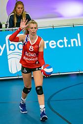 Britt Schreurs #8 of VC Sneek in action during the supercup semifinal between VC Sneek and Sliedrecht Sport on October, 03 2020 in Van der Knaaphal, Ede