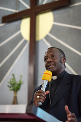 31 October 2019, Monrovia, Liberia: Rev. Dr Fidon Mwombeki delivers the keynote address as the Lutheran World Federation launches an SDG mapping for Liberia in Saint Peter Lutheran Church. The event takes place during the annual global meeting of the Waking the Giant initiative of the Lutheran World Federation.