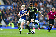 Tom Davies of Everton and Nemanja Matic of Chelsea battle for the ball. Premier league match, Everton v Chelsea at Goodison Park in Liverpool, Merseyside on Sunday 30th April 2017.<br /> pic by Chris Stading, Andrew Orchard sports photography.