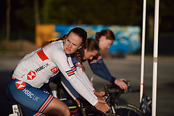 Jessica Allen (AUS) warms up for the 2020 UEC Road European Championships - Under 23 Women Road Race, a 81.9 km road race in Plouay, France on August 26, 2020. Photo by Sean Robinson/velofocus.com