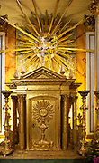 Ornately decorated altar nside the 17th century church of Igreja de Santiago, Tavira, Algarve, Portugal, Southern Europe