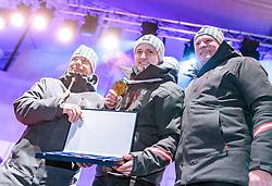 27.02.2018, Salzburg, AUT, PyeongChang 2018, ÖOC Medaillenfeier, im Bild v.l.: ÖSV Präsident Peter Schröcksnadel, Matthias Mayer, ÖOC-Generalsekretär Peter Mennel // during a ÖOC medal celebration Party after the Olympic Winter Games Pyeongchang 2018 in Salzburg, Austria on 2018/02/27. EXPA Pictures © 2018, PhotoCredit: EXPA/ JFK