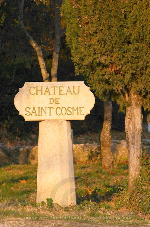 Stone sign post at Chateau Saint Cosme, Gigondas, Vaucluse, Rhone, Provence, France
