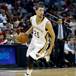 Oct 23, 2013; New Orleans, LA, USA; New Orleans Pelicans shooting guard Austin Rivers (25) against the Miami Heat during the first half of a preseason game at New Orleans Arena. Mandatory Credit: Derick E. Hingle-USA TODAY Sports