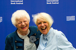 Pictured: Journalist Ructh Wishart and Liz Lochhead,  a Scottish poet, playwright, translator and broadcaster. Between 2011 and 2016 she was the Makar, or National Poet of Scotland<br /> Book fanatics headed to Charlotte Square in Edinburgh which is the hub of the international Book Festival to meet the authors and also to meet up with fellow fans of the printed word.<br /> <br /> <br /> Ger Harley   EEm 22 August 2017
