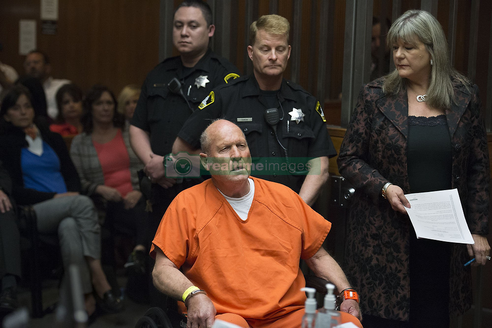 April 27, 2018 - Sacramento, California, U.S. - JOSEPH JAMES DEANGELO, the suspected East Area Rapist, is arraigned in a Sacramento courtroom and charged with murdering Katie and Brian Maggiore in Rancho Cordova in 1978. DeAngelo, 72, has been officially charged with eight counts of murder in three counties. His Friday court appearance was for the 1978 killing of a Sacramento County couple. Police believe DeAngelo killed at least 12 people and raped dozens of women in the '70s and '80s. (Credit Image: © Sacramento Bee via ZUMA Wire)