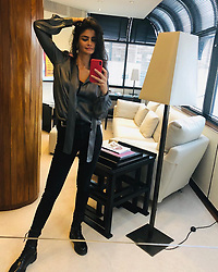 """Shermine Shahrivar releases a photo on Instagram with the following caption: """"\u201eI call her the devil cause she makes me wanna sin and everytime she knocks i cant help but let her in\u201c \ud83d\ude0e #monday #wisdom #sympathyforthedevil"""". Photo Credit: Instagram *** No USA Distribution *** For Editorial Use Only *** Not to be Published in Books or Photo Books ***  Please note: Fees charged by the agency are for the agency's services only, and do not, nor are they intended to, convey to the user any ownership of Copyright or License in the material. The agency does not claim any ownership including but not limited to Copyright or License in the attached material. By publishing this material you expressly agree to indemnify and to hold the agency and its directors, shareholders and employees harmless from any loss, claims, damages, demands, expenses (including legal fees), or any causes of action or allegation against the agency arising out of or connected in any way with publication of the material."""