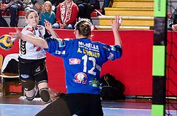 Tamara Mavsar of Krim vs goalkeepr of Metz  Aman. Leynaud at handball match of Round 5 of Champions League between RK Krim Mercator and Metz Handball, France, on January 9, 2010 in Kodeljevo, Ljubljana, Slovenia. (Photo by Vid Ponikvar / Sportida)