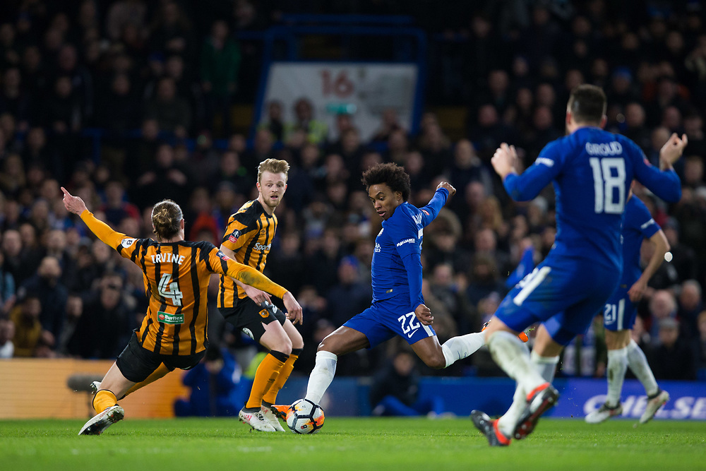 Chelsea's Willian has a shot <br /> <br /> Photographer Craig Mercer/CameraSport<br /> <br /> Emirates FA Cup Fifth Round - Chelsea v Hull City - Friday 16th February 2018 - Stamford Bridge - London<br />  <br /> World Copyright © 2018 CameraSport. All rights reserved. 43 Linden Ave. Countesthorpe. Leicester. England. LE8 5PG - Tel: +44 (0) 116 277 4147 - admin@camerasport.com - www.camerasport.com