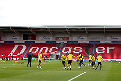 Bristol Rovers warm up at Doncaster Rovers - Mandatory by-line: Robbie Stephenson/JMP - 26/09/2020 - FOOTBALL - The Keepmoat Stadium - Doncaster, England - Doncaster Rovers v Bristol Rovers - Sky Bet League One