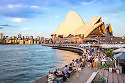 Tourists and Locals at Sydney Harbor and Opera House