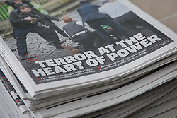 © Licensed to London News Pictures. 23/03/2017. London, UK. Newspaper headlines the day after the Westminster Attack in which five people are believed to have been killed. Photo credit: Rob Pinney/LNP
