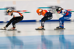 Atmospheric image of Suzanne Schulting in action on 1500 meter semifinals during ISU European Short Track Speed Skating Championships 2020 on January 25, 2020 in Fonix Hall, Debrecen, Hungary
