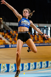 Pauline Hondema in action on the high jump during AA Drink Dutch Athletics Championship Indoor on 20 February 2021 in Apeldoorn.