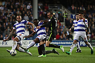 Brighton & Hove Albion centre forward Glenn Murray (17) shoots at goal during the EFL Sky Bet Championship match between Queens Park Rangers and Brighton and Hove Albion at the Loftus Road Stadium, London, England on 7 April 2017.